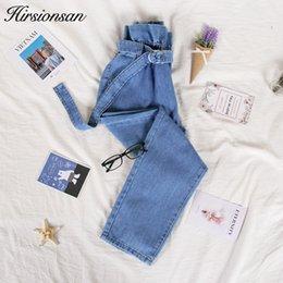 $enCountryForm.capitalKeyWord NZ - Hirsionsan High Waist Jeans For Women 2019 Autumn Casual Drawstring Denim Pants Vintage Blue Bf Ankle-length Loose Jeans Femme MX190712