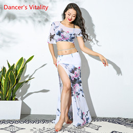 $enCountryForm.capitalKeyWord Australia - Women's Mesh Belly Costume Dancing Long Sexy Suit Dancer Performance Show Clothes Pink White Free Delivery