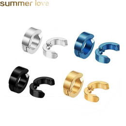 Wholesale 5 Colors Stainless Steel Clip Earrings Non Piercing Punk Earring For Men Women Silver Black Blue Golden Classic Charm Elegant Jewelry