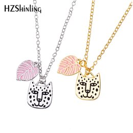 Gifts for cat lovers online shopping - 2019 NEW Big Cat Face Enamel Pendant Necklace Rainforest Jewelry Cat and Leaf Pendants Gifts For Animal lovers Chain Silver Gold