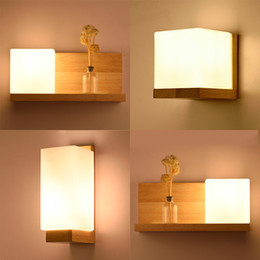 Clear Wood Glasses Australia - Modern Led Wooden Wall Lamps Nordic Frosted Glass Wood Lights Sconce Hallway Aisel Hotel Bedroom Minimalist Solid Wood Corridor-I35