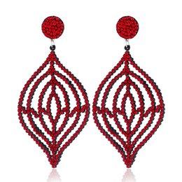 $enCountryForm.capitalKeyWord Australia - Trendy Long Rhinestone Drop Earrings Women Irregular Statement Dangle Earrings Femme Red Party Jewelry
