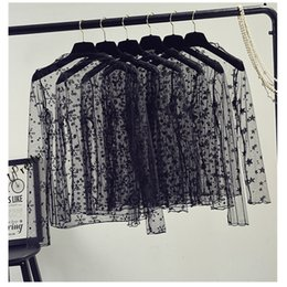 Discount plus size undershirts - Womens Designer Tops Woman Shirt Women Sexy Mesh Net See Through T Shirt O Neck Long Sleeve Hollow Transparent Undershir