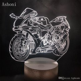 Childrens lamp online shopping - Remote Colors D Bulbing Light Motorcycle Locomotive LED Night Light Color Changeable Table Lamp Methacrylate Plate Childrens Gift Toy