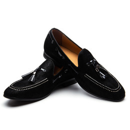 86a9988a70b Black Suede Loafers Tassels Men s Moccasins Slippers Smoking Man Flats Dress  Shoes Casual Shoes Gentlemen Leather