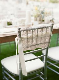 Champagne Chair Australia - Custom Made Ribbon Lace Wedding Chair Covers Beautiful Cheap Wedding Party Decorations Vintage Chair Sashes Supplies C05