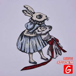 rabbit patch 2020 - GUGUTREE embroidery big rabbit patch animal patches badges applique patches for clothing DX-221