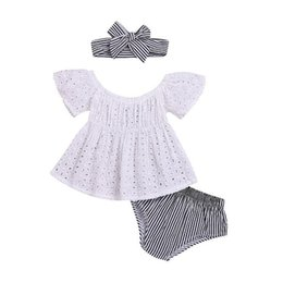 $enCountryForm.capitalKeyWord NZ - kids clothing 2019 baby Summer Dress Hollow-out Top+Stripe PP shorts+Hair baby girl clothes 3 piece Set kids designer clothes girls