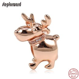 7a8f7ff15 New Arrival Good Quality Christmas Gift Jewelry 925 Sterling Silver Rose Reindeer  Charm Fit Bracelet