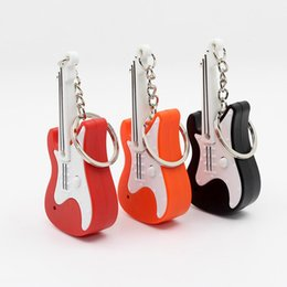 $enCountryForm.capitalKeyWord Australia - Guitar LED Light Sound Key Ring Chain Battery Powered Car Bag Pendant Accessory Hook Lamp Christmas Gifts Bright Light Key Ring