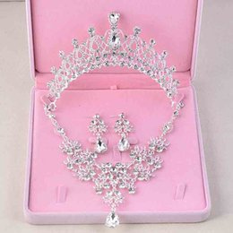 bridal jewelry set necklace earrings tiara NZ - Fashion 3PCS Rhinestone Crystal Bridal Necklaces Earrings Tiaras Sets African Beads Jewelry Sets Wedding Engagement Jewelry