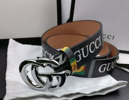 Canvas Prints Free Shipping Australia - hot selling Wholesale original box Europe USA MEN& female belt luxury print logo belts high quality brand button #G leather belt free ship