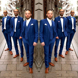 $enCountryForm.capitalKeyWord Australia - Plus Size Summer Men Suits for Wedding Groom Tuxedo Royal Blue Groomsmen Jacket Peaked Lapel 3Piece Costume Homme Classic Terno Masculino