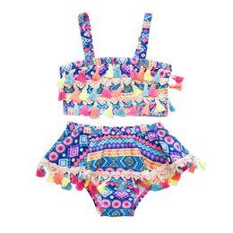 0ebbd88a4baac Baby Girl Fashion Tassel Swimsuit Children Geometric Printed Bikinis kids  Tassel Beach Bathing Swimwear Set Two-piece RRA565