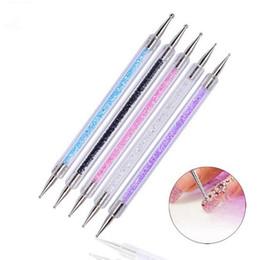 Diamante di cristallo 2 Way spazzola Salon Decoration Attrezzi per manicure 5pcs RRA1513 gel UV della pittura di arte del chiodo che punteggia la penna acrilica della maniglia / in Offerta