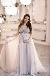out shower Australia - Sparkly Sequin Beads A Line Maternity Prom Dress Baby Shower Gowns Tulle Skirt V-neck Sleeveless Tulle Evening Party Gowns