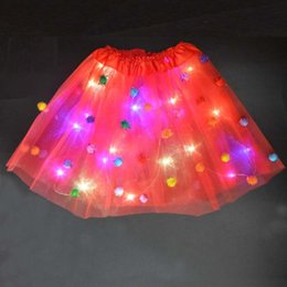 led tutus Australia - 1PC Kids Girls LED Light Tutu Skirt Pompon Neon Colorful Luminous Party Ballet Dance Dress Festival Cosplay Costume Stage Wear