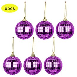 Discount disco ball decorations - 6 Pcs Reflective Mirror Ball Rotating Colored Lob Disco Party Hanging Ornaments Christmas Tree Wedding Birthday Party De