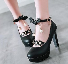 Beige High Heels Flowers Australia - 2019 Flower Women's shoes in Spring and Autumn with New style High heel Coarse heel round head bowknot @7166