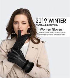 sheepskin mittens women NZ - 100% pure sheepskin Winter Gloves Women Real Sheepskin cashmere Fur Warm Gloves Ladies Full Finger Genuine Leather mitten gloves Y191112