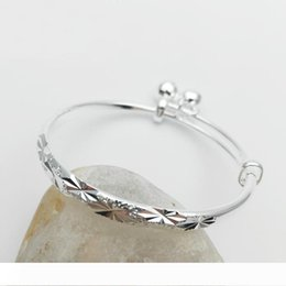 silver bracelets for kids NZ - Kids Jewelry Silver Plated Snowflake Embossing Adjustable Bells Bangles & Bracelets for Baby Toddler Girls Hot Gift