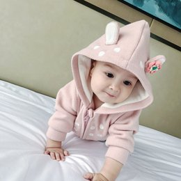 Infant Woolen Australia - Newborn Rabbit Ear Coat Baby Girl New Born Coats Fashion Infants Winter Coats Clothes Warm Fleece Girls Hoodie Jacket Bebe