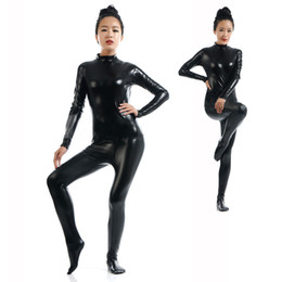 $enCountryForm.capitalKeyWord UK - Sexy Black Zentai Full Body Tight Jumpsuit Wetlook Faux Leather Catsuit Halloween Cosplay Stretchable Bodysuit Fetish Clubwear