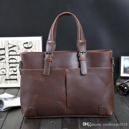 $enCountryForm.capitalKeyWord NZ - Factory sales brand Korean male bag retro crazy horse leather briefcase classic men's pure leisure business men Shoulder Messenger Bag