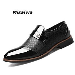 Business Man Shoe Australia - Misalwa Men Leather Office Shoes Slip on Brown British Business Suit Zapatos Formal Hombre Plus Size 38-48 Oxford Shoes For Men