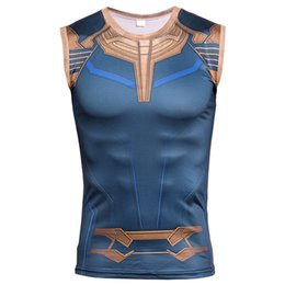 vest model men UK - Explosive models Thanos printing men's breathable Slim sleeveless vest men's tights wear fitness vest quick-drying clothes