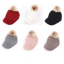 4248837445a BaseBall hat fur Ball online shopping - Fur Pom Pom Cap Baseball Caps  Crochet Knit Snapback
