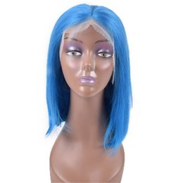 Brown Purple Blue Wig NZ - Shinning Color Bob Wig 100% Human Hair Lace Frontal Wig Baby Hair Pre Plucked 150% density silky and soft green blue red pink yellow purple