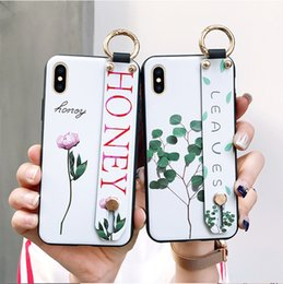 Wholesale For iphone Plus X XS MAX Fashion Flower Lanyard Loop Stand Phone Case For iphone XR S Plus soft TPU Cover coque