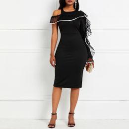 $enCountryForm.capitalKeyWord Australia - Party Bodycon Dress 2019 Women Sexy One Shoulder Long Sleeve Tight Club Summer Evening Elegant Black Lace Ruffle Midi Dresses T5190613