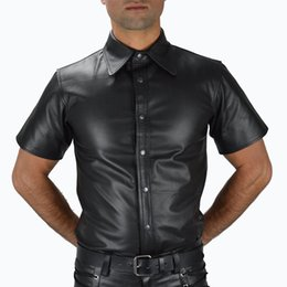 faux leather shirts NZ - Men Faux Leather Novelty T-shirts Plus Size Stand Collar Fetish Wear Short Sleeve Fashion Streetwear Male Night Clubwear PVC Tops