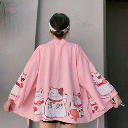 Cat Cardigan woman online shopping - Blouses Japanese Kimonos Cat Cardigan Harajuku Loose Kimono Pink Feminino Outerwear Shirts Women Coats Print