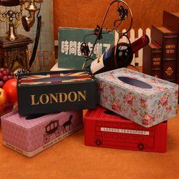 $enCountryForm.capitalKeyWord Australia - Vintage Big european iron holder tissue box home table decoration square napkin sheet paper box Storage automatic paper towel