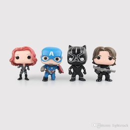 Wholesale 10 CM Pop Marvel Black Panther Captain America Black Widow Winter Soldier Black Panther Doll Box Hand Model The Avengers Series