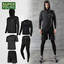 PurPle comPression shorts online shopping - Workout Clothes for Men Tracksuit Sport Gym Wear Jogging Suit Running Shorts Fitness Jackets Clothing Yoga Set Compression Pants SH190914