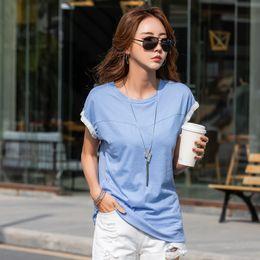 Short Sleeve Loose Tops Australia - Women T-shirts 2019 Summer Autumn Fashion Female Solid Casual Loose Cotton Short Raglan Sleeve T-shirt Pullover Tops Tees Tshirt