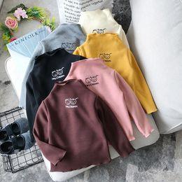 $enCountryForm.capitalKeyWord Australia - WLG girls winter turtleneck thick t shirts kids velvet cartoon printed t-shirt baby causal all match colorful tops children 2-7T