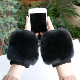 Korean couples blacK white online shopping - Gloves Korean en s Black Women s Universal Winter Plush Velvet Thick Warm Student Couple Typing Half Finger Riding Gloves W112