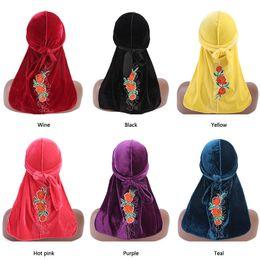 $enCountryForm.capitalKeyWord NZ - Women velvet durag Turban rose flower pattern headwrap doo do rag Bandanas Headwear Headband Hair Cover Accessories Waves Cap