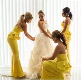 Plus Size Peplum Prom Dresses Australia - 2019 Sexy Yellow Bridesmaid Dresses Beach Strapless Sleeveless Peplum Backless Ruffles Floor-length Maid Of Honor Dress Plus Size Prom Dress