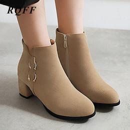 $enCountryForm.capitalKeyWord Australia - Plus Size 33 43 Ankle Boots Women Autumn Winter Shoes for Beige Black Womens Round Toe Square Block Heels Zip New Boot