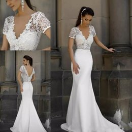 Simple Purple Mermaid Wedding Dress Australia - 2019 Vintage Mermaid Wedding Dresses Short Sleeves V Neck Lace Bridal Gowns Sexy Backless Summer Beach Wedding Gowns Vestido De Noiva