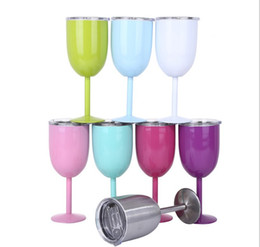 $enCountryForm.capitalKeyWord Australia - 8 Colors 10oz Wine Glasses Stainless Steel Vacuum Insulated Cups Red Wine Cups Stem Wine Goblet With Lid KC3010 25pcs