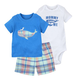Boys BaBy light Blue suit online shopping - Baby Sets Kids Suit Kids clothing Boys Short Sleeved Suit Creeping Shorts Round Neck Cartoon Printing