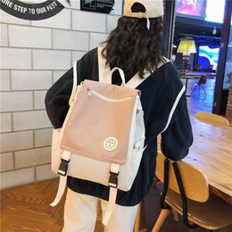 casual canvas women backpack red NZ - Ins Korean Version Cute Fashion Casual School Backpack Travel Camp Canvas Women Shoulders Bags