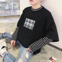 $enCountryForm.capitalKeyWord Australia - 2019 Cool Print Korean Harajuku Black white Hip Hop T-shirts Men Women Spring Fake Two Piece Extra Long Sleeve Loose T Shirt